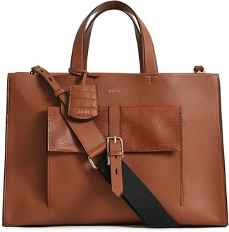 Reiss Large Picton Leather Satchel