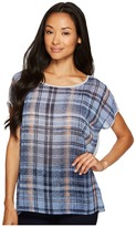 TWO by Vince Camuto - Short Sleeve Mixed Media Plaid Textures Tee Women's T Shirt