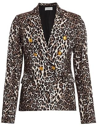 A.L.C. Alton Leopard Print Double-Breasted Blazer