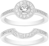 Bliss Cubic Zirconia & Sterling Silver Halo Ring Set