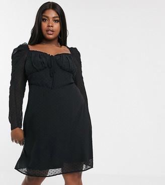 Fashion Union Plus milkmaid dress-Black