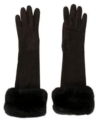 J. Mendel Suede Mink-Trimmed Gloves