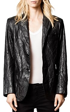 Zadig & Voltaire Volta Crinkled Leather Blazer