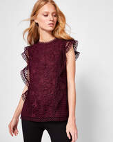 Ted Baker Ruffle Lace Top Black