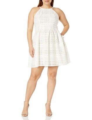 Eliza J Women's Plus Size Laser Cut Halter Dress Off- Off-White 20W