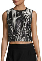 Marina Sequined Sleeveless Cropped Top