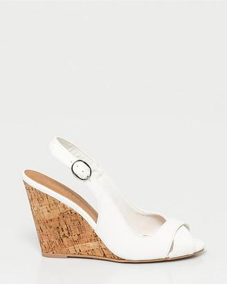 Le Château Faux Leather Peep Toe Wedge Sandal