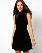 Glamorous Velvet Skater Dress with High Neck - Black