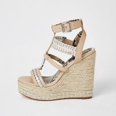 River Island Pink whipstitch strap wide fit wedge sandals