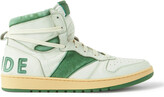 Thumbnail for your product : Rhude Rhecess Distressed Leather High-Top Sneakers