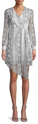 70/21 Snakeskin-Print Chiffon Wrap Dress