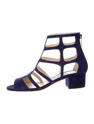 Jimmy Choo Suede Gladiator Sandals Blue
