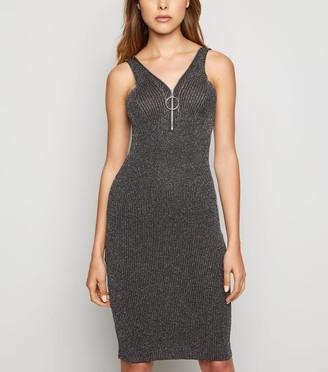 New Look Pink Vanilla Metallic Zip Front Dress