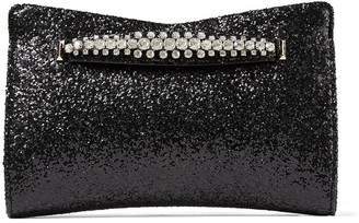 Jimmy Choo VENUS Black Galactica Glitter Fabric Clutch Bag