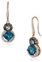 LeVian Diamonds, Topaz, Aquamarine and 14K Rose Gold Drop Earrings