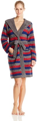 Casual Moments Women's Hooded Marshmallow Wrap Robe Char/Navy/Burg Small