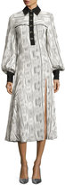 Prabal Gurung Striped Button-Front Long-Sleeve Maxi Dress, White/Black