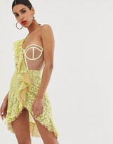 For Love & Lemons Tati lace dress with contrast exposed bodice