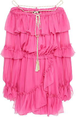 Dundas Cold-shoulder Tiered Silk-voile Mini Dress