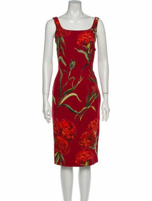 Dolce & Gabbana Printed Midi Length Dress Red