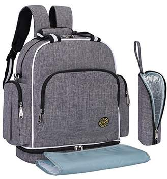 Squizzas! Designer Diaper Bag Backpack with Insulated Pockets Travel Portable Baby Bag, Grey