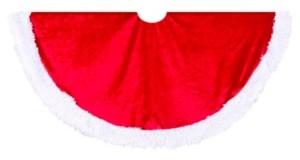 Kurt Adler 44.5-Inch Red Velvet Tree skirt with White Trim