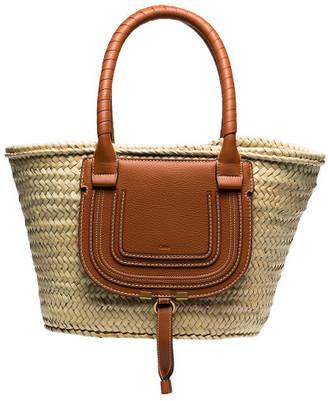 Chloé Marcie Leather And Raffia Shopping Bag