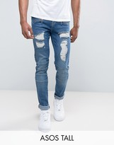 Asos Tall Skinny Jeans In Biker Style With Rips