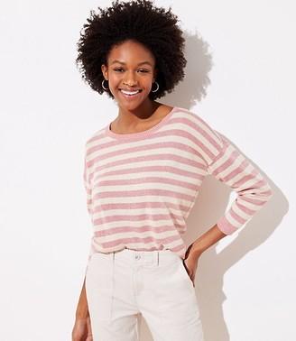 LOFT Petite Shimmer Striped 3/4 Sleeve Sweater