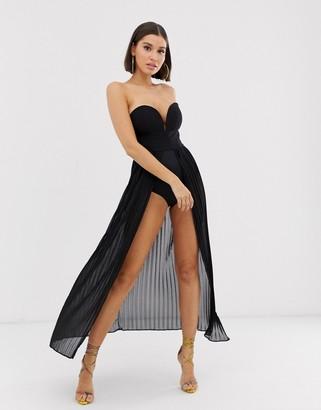 Rare London pleated maxi bodysuit dress in black