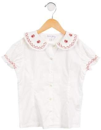 Rachel Riley Girls' Short Sleeve Button-Up Top