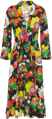 Dodo Bar Or Charlotte Tie-detailed Floral-print Cotton Midi Dress