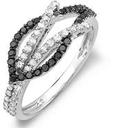DazzlingRock Collection 0.55 Carat (ctw) 14k White Gold Black & White Round Diamond Ladies Cocktail Right Hand Ring 1/2 CT (Size 7.5)