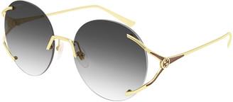Gucci Rimless Round Metal Sunglasses