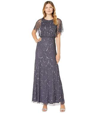Adrianna Papell All Over Beaded Blouson Long Dress (Gunmetal) Women's Dress