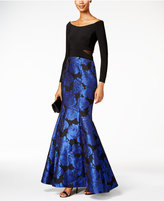 Xscape Evenings Off-The-Shoulder Floral-Print Mermaid Gown
