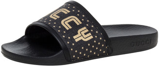Gucci Black Rubber Flat Slides Size 35