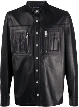 Neil Barrett Leather Panelled Shirt Jacket
