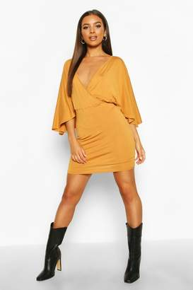 boohoo Jersey Wrap Cape Mini Dress