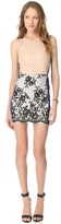 Mason by Michelle Mason Leather Bodice Contrast Dress