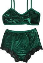 Villy Women's Vintage 2 Pieces Velvet Bra & High Waist Lace Panties Lingerie Set