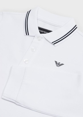 Emporio Armani Long-Sleeved Stretch Pique Polo Shirt
