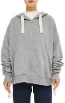 Topshop Women's Ruched Sleeve Hoodie