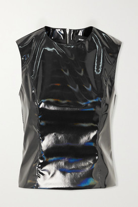 we11done Iridescent Faux Patent-leather Tank - Black