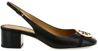 Tory Burch Minnie Cap-Toe Leather Slingback Pumps