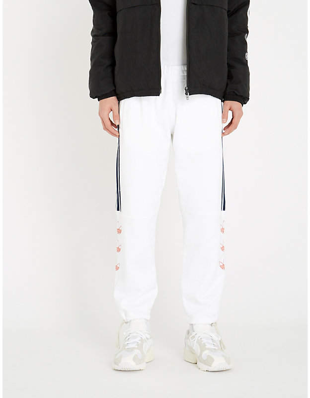adidas Logo-embroidered cotton-jersey jogging bottoms