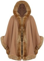 My Mix Trendz MyMix Trendz - New Womens Faux Fur Hooded Wrap Puncho Cape