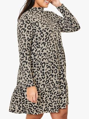 Oasis Curve Cosy Leopard Print Dress, Natural/Multi