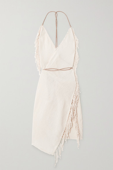 Thumbnail for your product : CARAVANA + Net Sustain Misol Open-back Leather-trimmed Fringed Cotton-jute Dress - Neutral