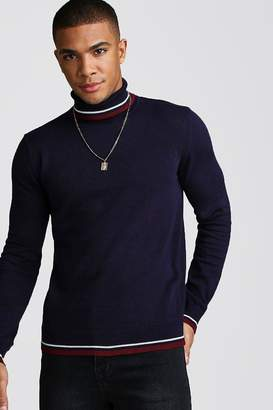 boohoo Roll Neck Jumper With Tipping